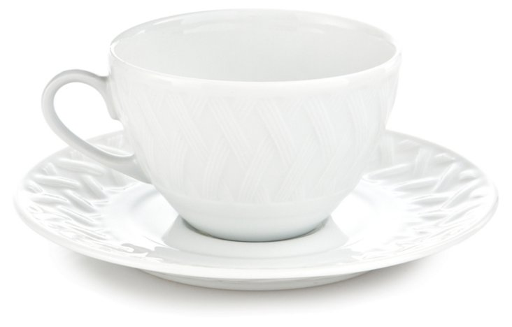 S/6 Louisiane Teacups & Saucers, White