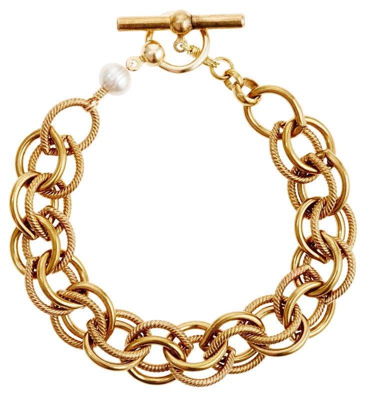 Double Link Bracelet, Gray Pearl