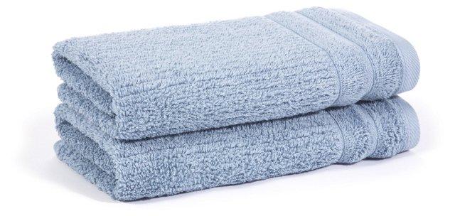S/2 Hudson Hand Towels, Azure