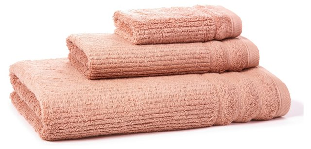 3-Pc Hudson Towel Set, Shell