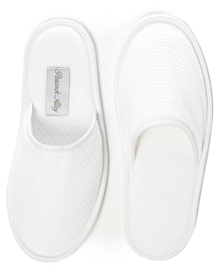 Medium Nicha Honeycomb Slippers, White