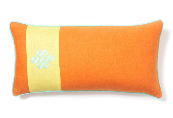 Orange Oblong Pillow w/ Green Trim
