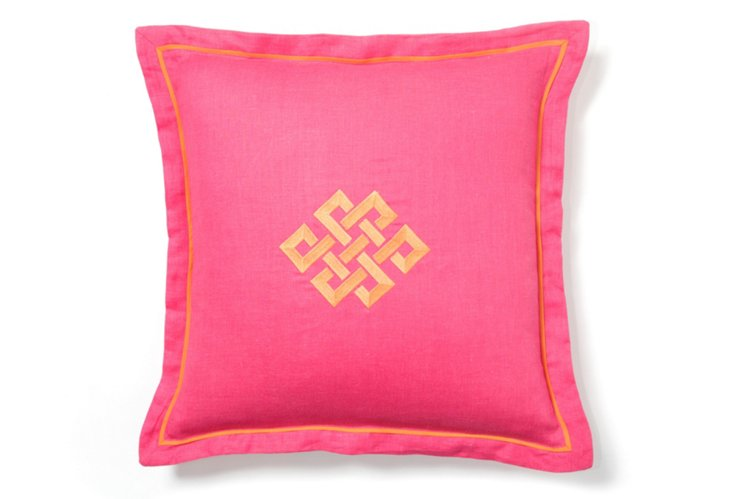 Fuchsia Square Pillow w/ Orange Trim