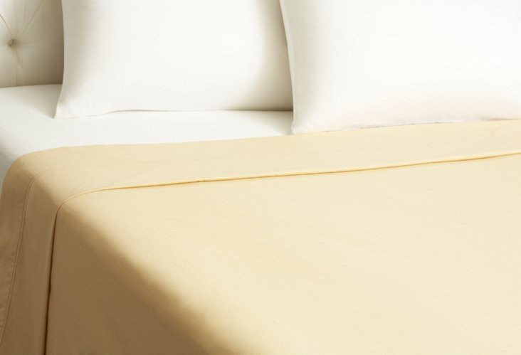 Queen Verona Sateen Flat Sheet, Gold