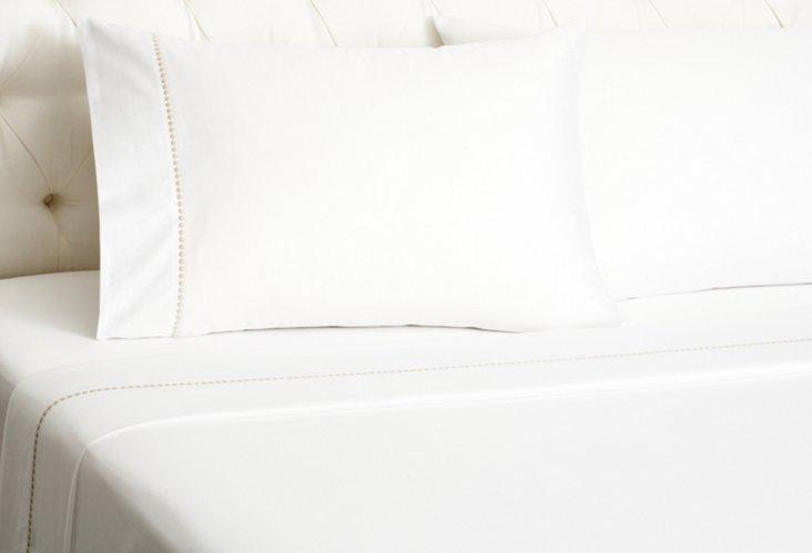 Dot Embroidered Sheet Set, Linen