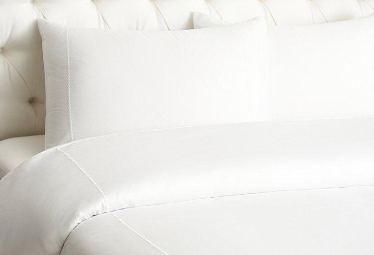 Dot Embroidered Duvet Set, White