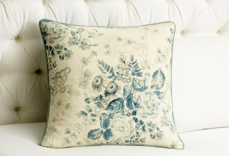 Laurel Square Pillow, Blue