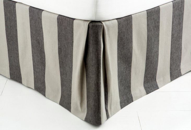 Stripe Bed Skirt, Charcoal