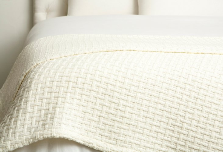 Basket Weave Throw, Ivory
