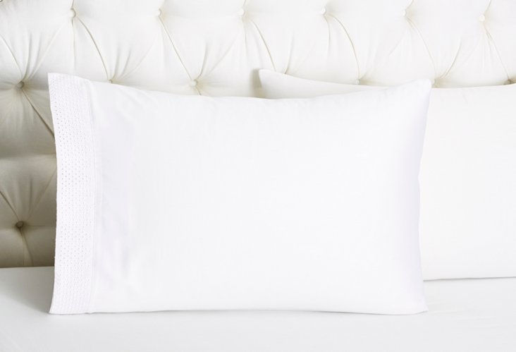 S/2 Punchboard Std Pillowcases, White