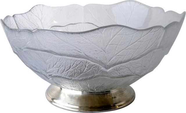 Large Silver Footed Glass Bowl