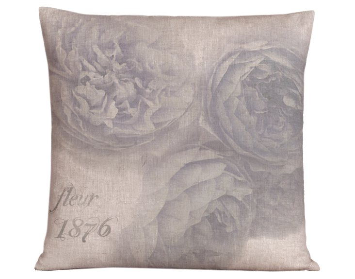 Floral Roses 20x20 Pillow, Nordic Blue