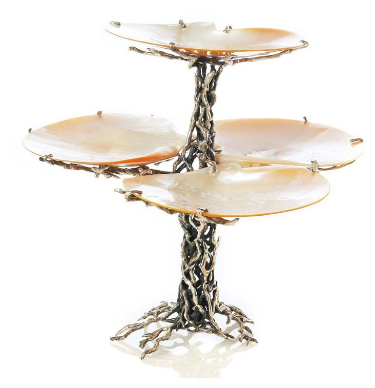 Sterling-Silver Tree w/ 4 Shell Plates