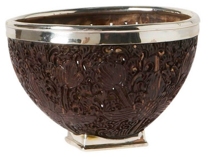 """4"""" Coconut Shell & Sterling-Silver Bowl"""