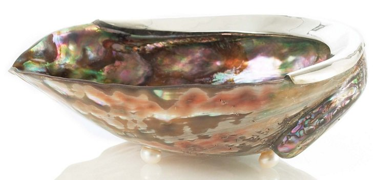 Pink Abalone & Sterling-Silver Dish