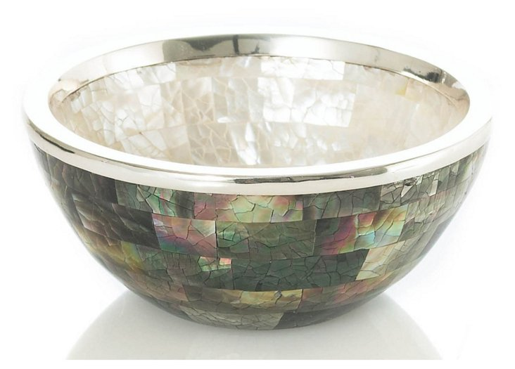 Mother-of-Pearl & Sterling Salad Bowl