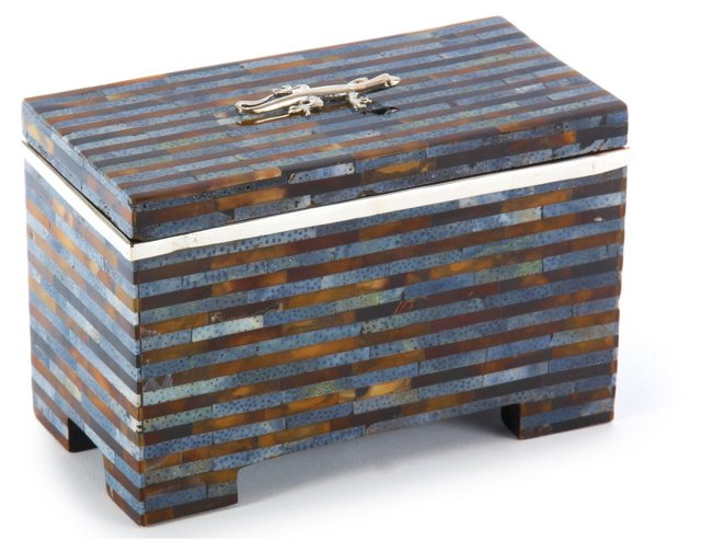 """5"""" Shell Box w/ Sterling Accent, Blue"""