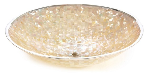 "15"" Mother-of-Pearl Round Bowl, White"