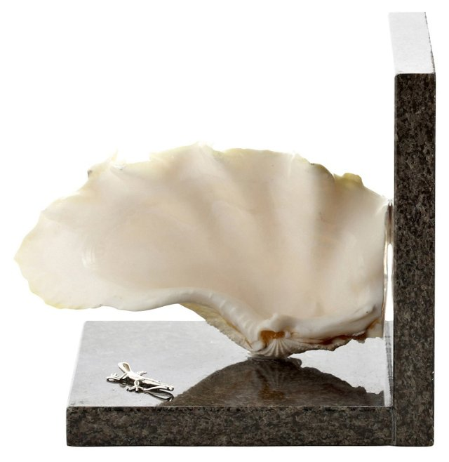 "7"" Ruffled Clam Bookend, Cream/Black"