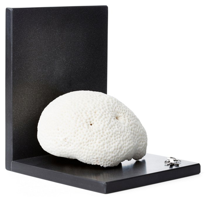 Closed Coral & Sterling-Silver Bookend