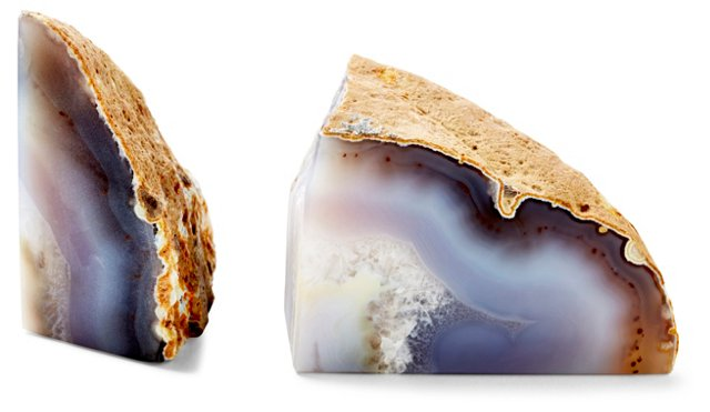 Pair of Agate Bookends, Natural