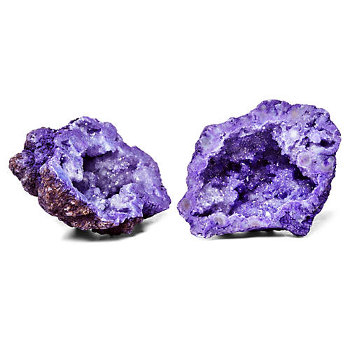 """Pair of 3"""" Geodes, Purple"""