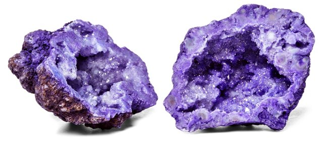 "Pair of 3""  Geodes, Purple"