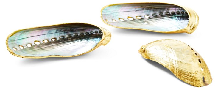 S/3 Rose-Gold-Plated Abalone Shells