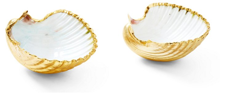 Pair of 18-Kt Gold-Plated Scallop Shells