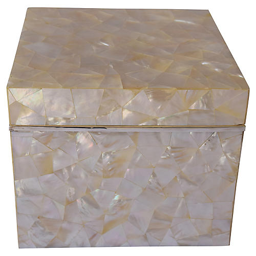 """7"""" Mother-of-Pearl Box w Sterling Silver"""