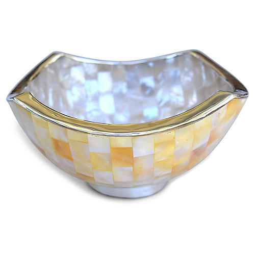 "7"" Oso Mother-of-Pearl Bowl, Natural/Silver"