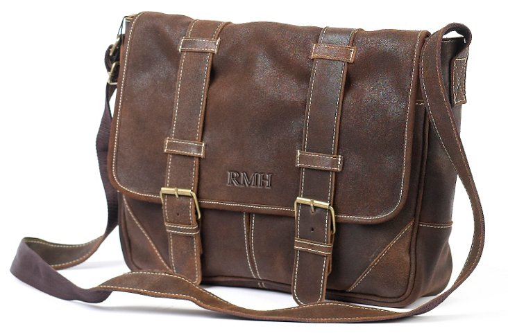 Leather Messenger, Distressed Brown