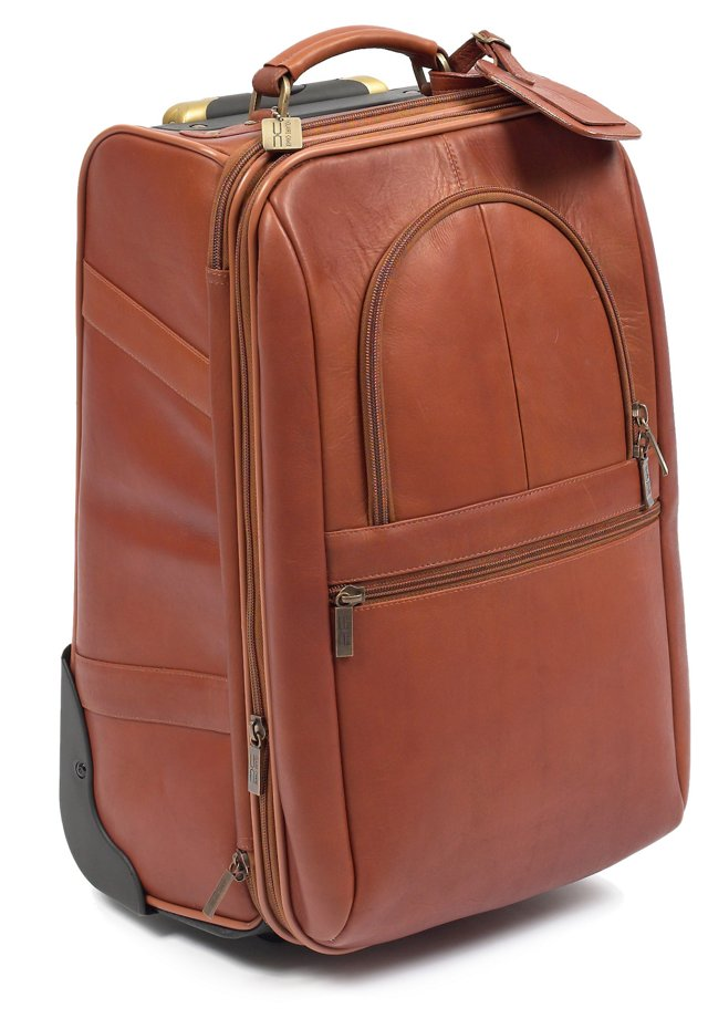 "21"" Leather Expandable Trolley, Saddle"
