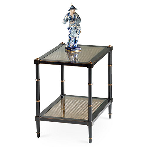 Augustine Caned Side Table, Black