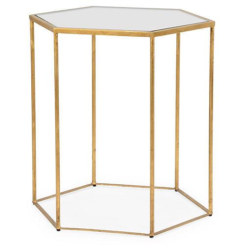 Virginia Hexagonal Side Table, Aged Gold