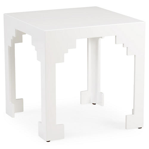 Emile Cut-Corner Side Table, White