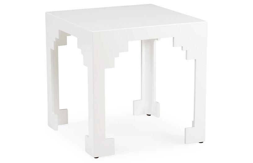 Emile Cut-Corner Side Table, White