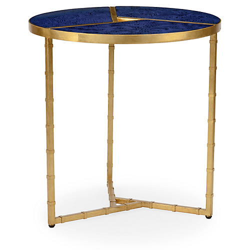 Roscoe Round Side Table, Blue