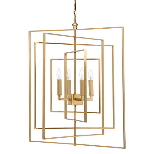 Cube 4-Light Chandelier, Antiqued Brass