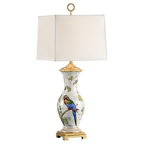 Chelsea Bird Porcelain Lamp, White/Multi