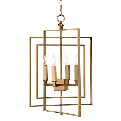 Small Cube Chandelier, Antiqued Brass