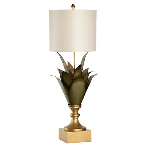 Large Agave Table Lamp, Green/Bronze