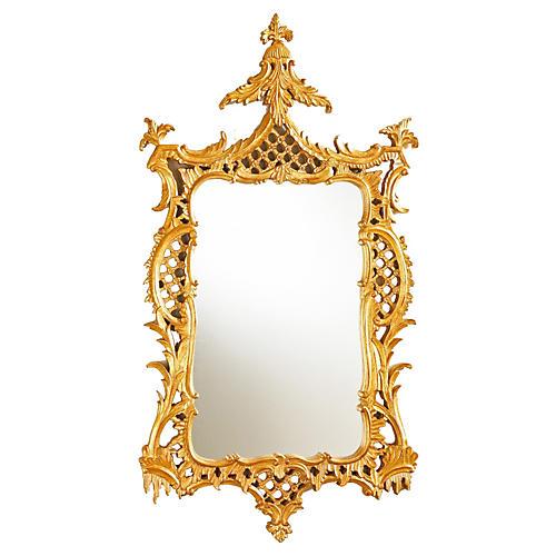 "25""x47"" Ornate Frame Mirror, Gold"