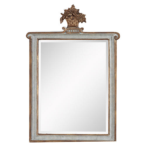 "15""x23"" Crown Detail Mirror, Blue"