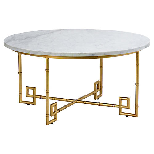 Bamboo Coffee Table, Gold Leaf