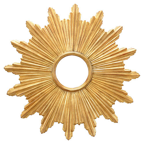 Starburst Wall Mirror, Antiqued Gold