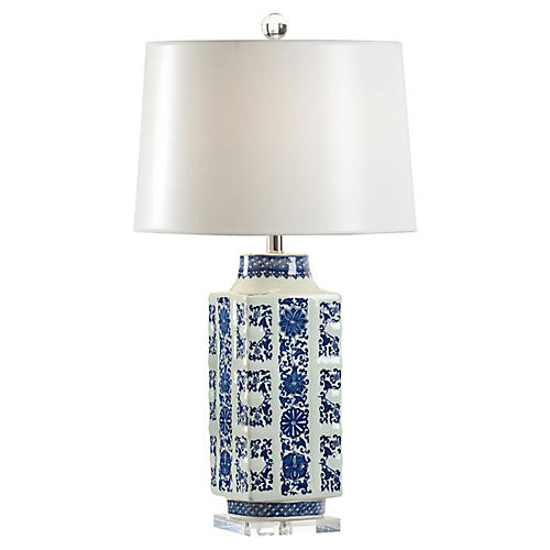 Clinton Porcelain Table Lamp, Blue/White