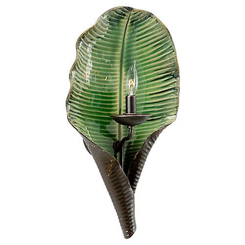 Palm Leaf Sconce, Dark Green