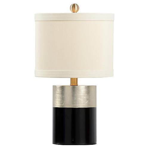 Warren Banded Table Lamp, Black/Silver