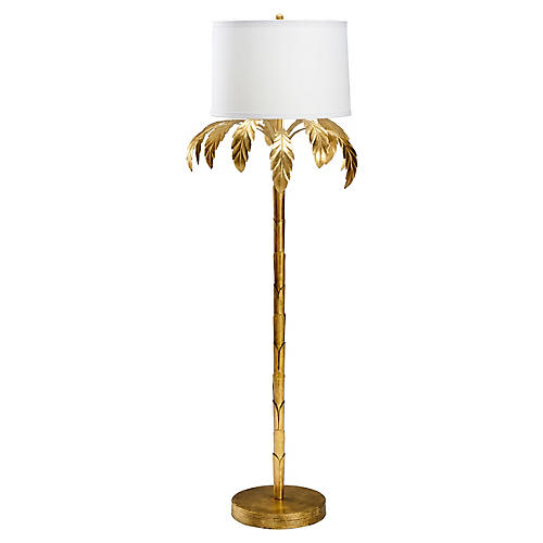 Palm Floor Lamp, Gold Leaf